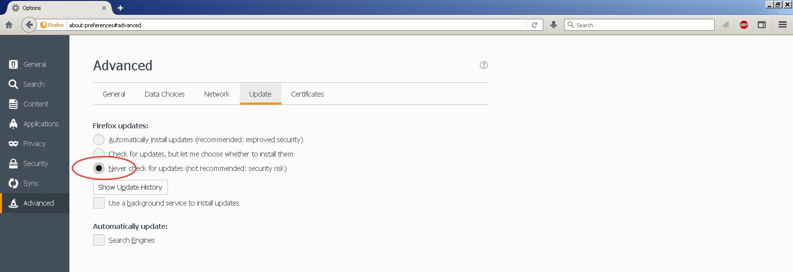 disable Firefox updates