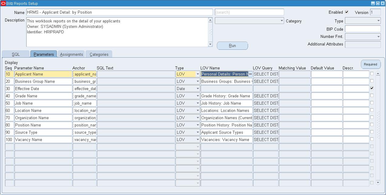 Discoverer Worksheet import parameter definition