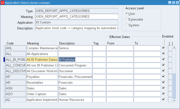Report import category assignment