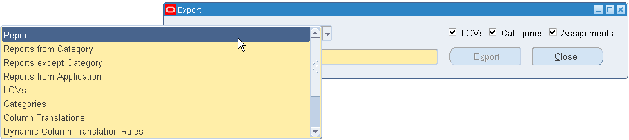 Blitz Report for Oracle EBS export options