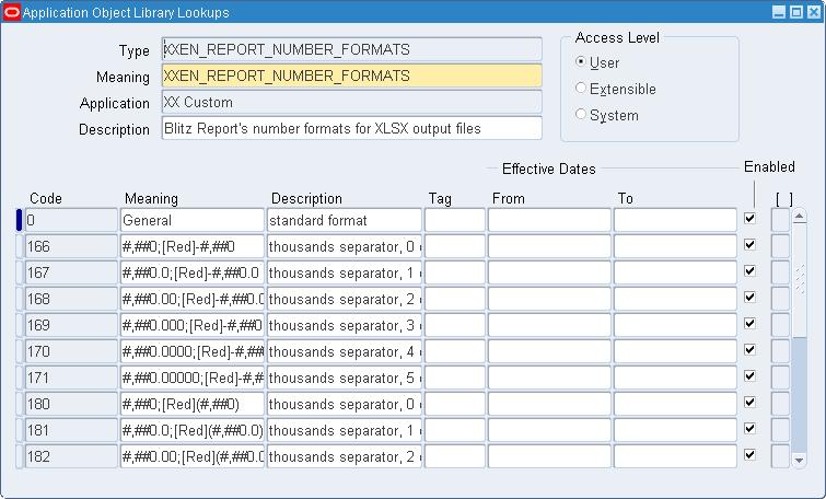 Blitz Report Excel number format lookup definitions