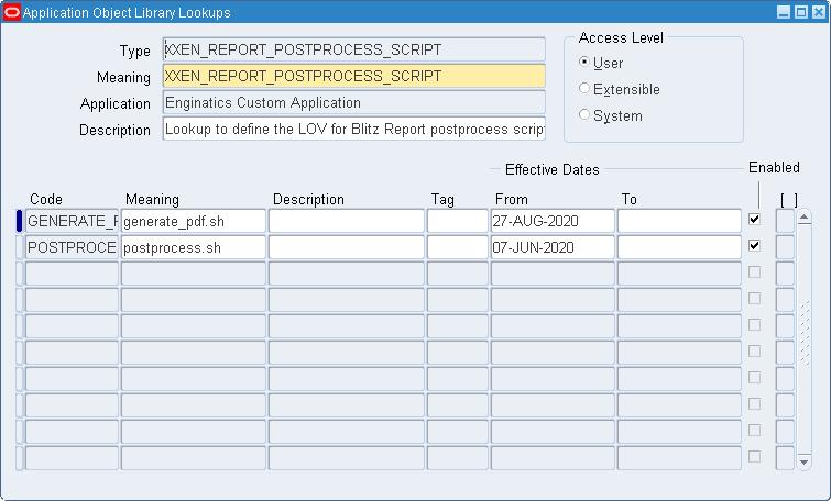 Blitz Report postprocessing script lookup