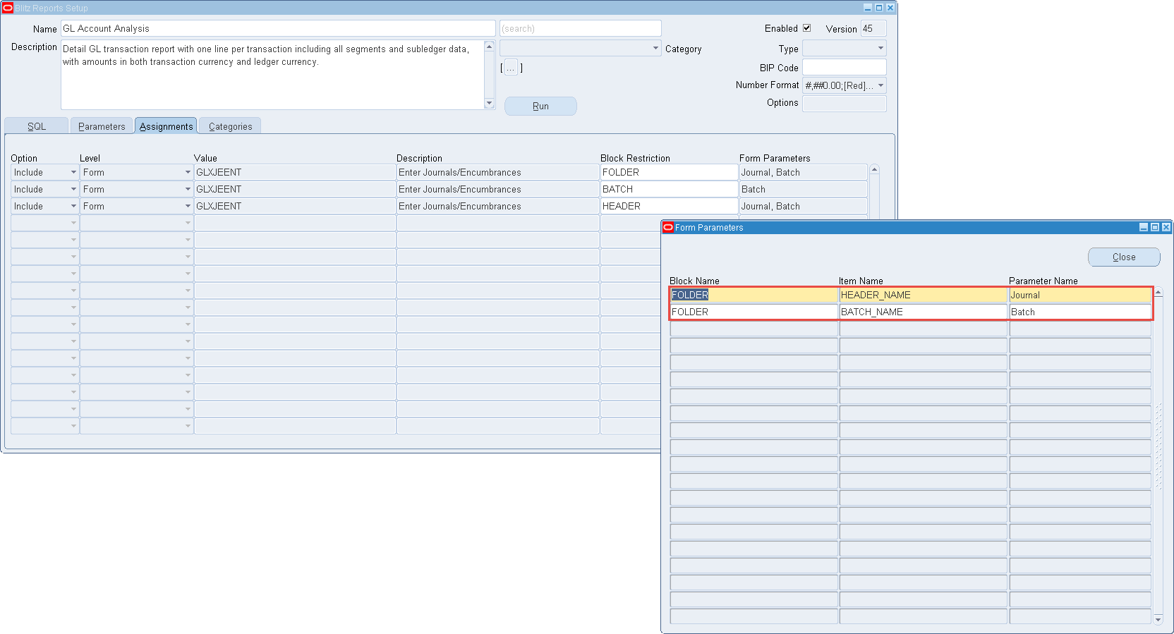 Define Forms items to pass default parameter values to Blitz Report
