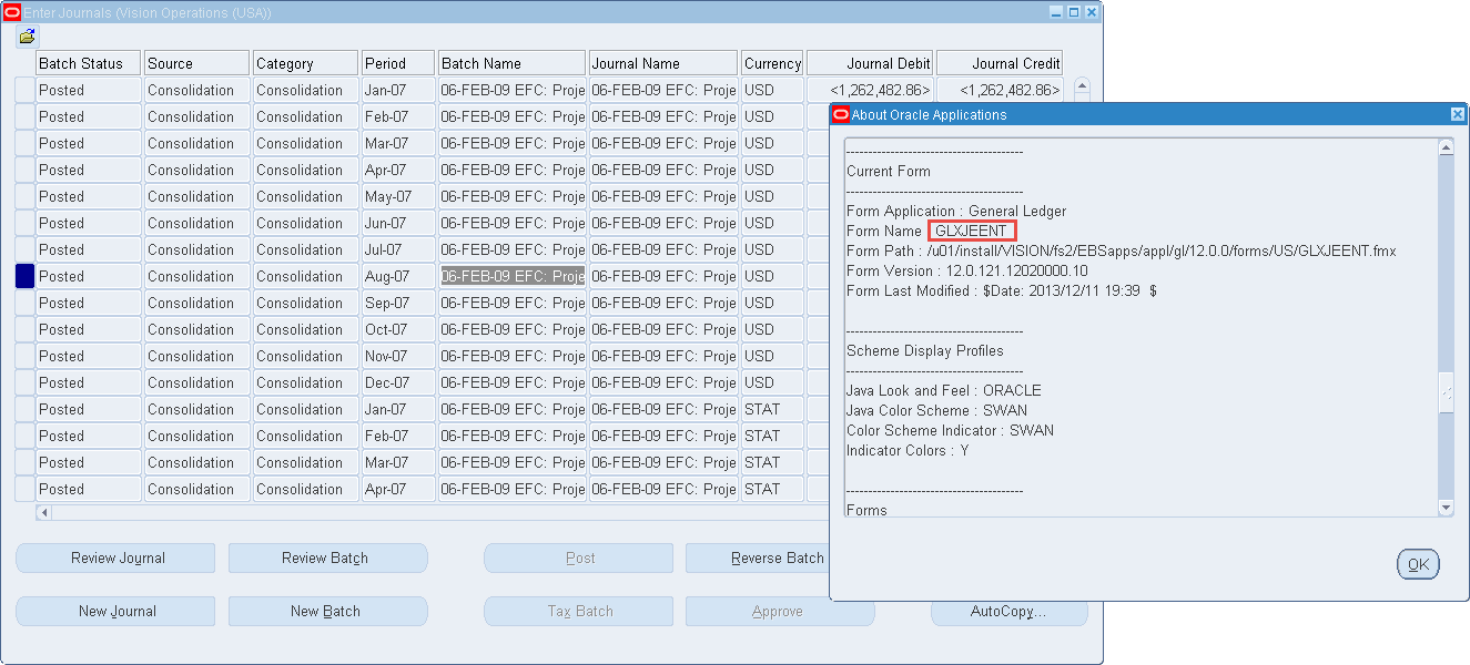 Identify Oracle standard internal form name for Blitz Report zoom integration